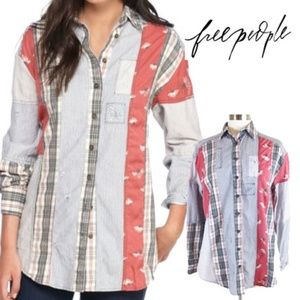 Free People All Patched Up Button Down Shirt